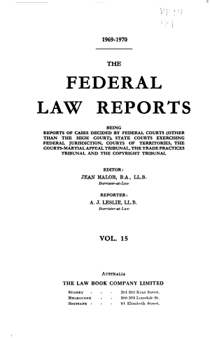 The Federal law reports