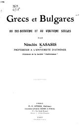 Grecs et Bulgares au dix-neuvième et au vingtième siècles