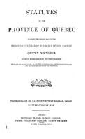 Statutes of the Province of Qu  bec PDF