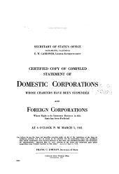 Certified Copy of Compiled Statement of Domestic Corporations Whose Charters Have Been Forfeited, and Foreign Corporations Whose Right to Do Business in This State Has Been Forfeited