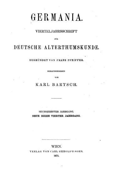 germania vierteljahrsschrift fur deutsche alterthumskunde PDF