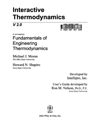 Fundamentals of Engineering Thermodynamics  Interactive Thermo 2 0 W  User s Guide PDF