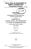 Fiscal Year 1991 Department of Energy Authorization  transportation Programs  PDF