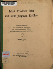 Jakob Friedrich Fries und seine jüngsten Kritiker