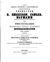 Regiae Friderico-Alexandrinae Litterarum Universitatis prorector ... cum procancellario reliquoque senatu academico successorem suum civibus academicis commendat: 1854