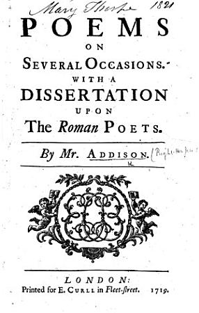 Poems on Several Occasions  With a dissertation upon the Roman poets PDF