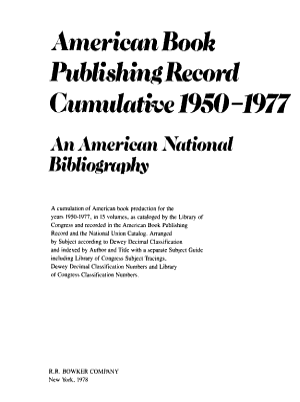 American Book Publishing Record Cumulative  1950 1977 PDF