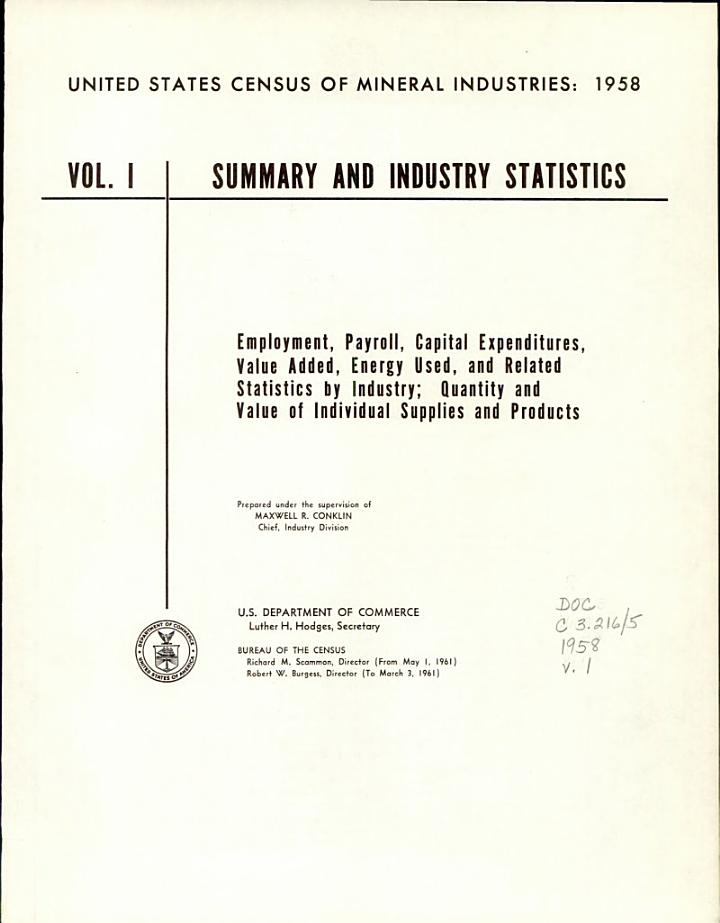 United States Census of Mineral Industries: 1958: Summary and industry statistics