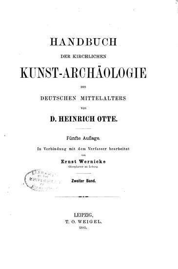 Handbuch der kirchlichen kunst arch  ologie des deutschen mittelalters PDF