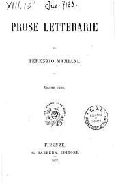 Prose letterarie di Terenzio Mamiani