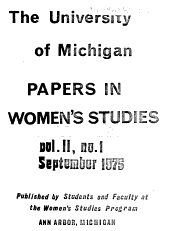 University of Michigan Papers in Women s Studies PDF