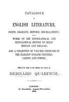 Catalogue of English Literature  Poetic  Dramatic  Historic  Miscellaneous PDF