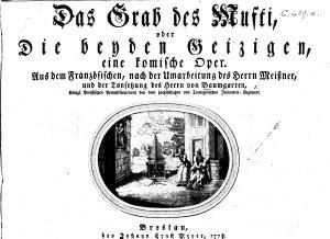 Das Grab des Mufti  oder Die beyden Geizigen  eine komische Oper  Aus dem Franz  sischen  nach der Umarbeitung des Hern  Meissner  etc   Score PDF