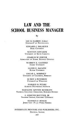 Law and the School Business Manager PDF