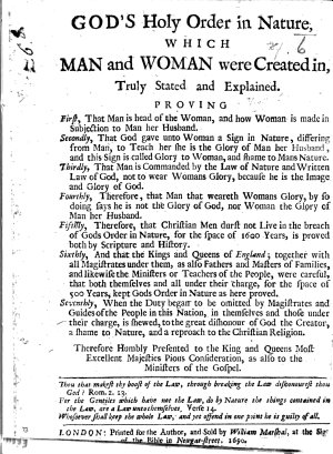 God s Holy Order in Nature  which man and woman were created in  truly stated and explained  etc PDF