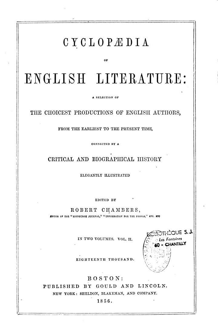Cyclopaedia of English Literature