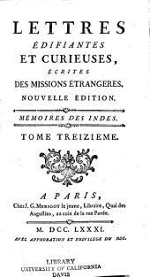 Lettres édifiantes et curieuses: écrites des missions étrangères, Volume13
