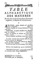 Conférences ecclésiastiques du diocese d'Angers sur les sagremens en géneral, sur la baptéme et la confirmation: tenues en la année 1716