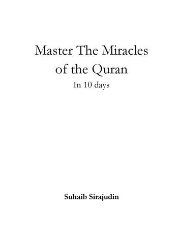 Master The Miracles of the Quran In 10 days PDF