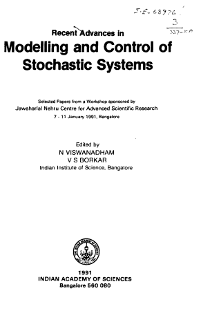 Recent Advances in Modelling and Control of Stochastic Systems PDF