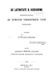 De latinitate b. Hieronymi: Observationes ad nominum verborumque usum pertinentes
