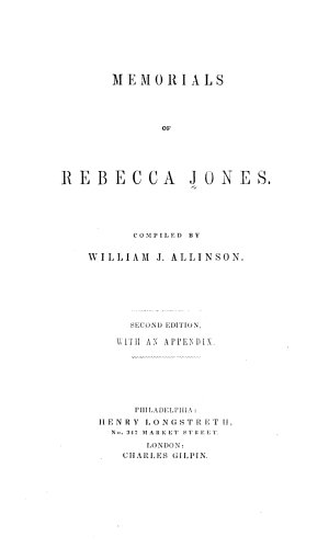 Memorials of Rebecca Jones