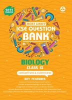 ICSE Most Likely Question Bank Biology Class 9  2022 Exam    Categorywise   Chapterwise Topics  Indepth Concepts  Quick Revision PDF