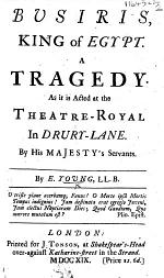 Busiris ... A tragedy [in five acts and in verse], etc
