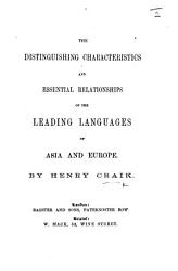 The Distinguishing Characteristics and Essential Relationships of the Leading Languages of Asia and Europe PDF