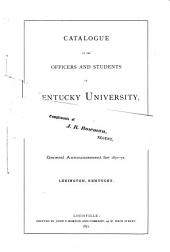 Annual Catalogue of the Officers and Students of Kentucky University for the Session of ...