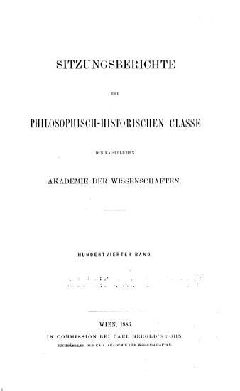 Sitzungsberichte der Philosophisch Historischen Classe der Kaiserlichen Akademie der Wissenschaften PDF