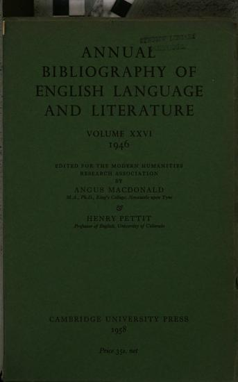 Annual Bibliography of English Language and Literature  Volume Xxvi  1946 PDF