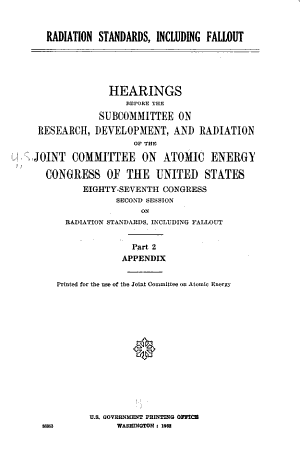 Radiation Standards  Including Fallout  Appendix  written statements PDF