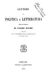 Lettere di politica e letteratura edite ed inedite di Cesare Balbo