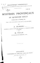 Mystères provençaux du quinzième siècle