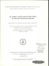An Author and Permuted Title Index to Selected Statistical Journals PDF
