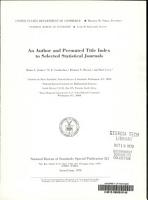 An Author And Permuted Title Index To Selected Statistical Journals