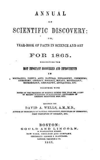 The Annual of scientific discovery  or yearbook of facts in science and art PDF