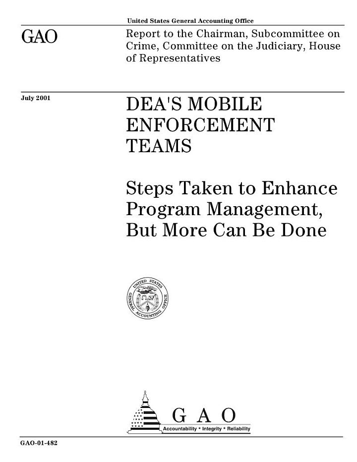 DEA's mobile enforcement teams steps taken to enhance program management, but more can be done.