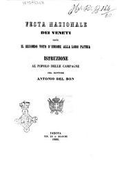 Festa nazionale dei veneti ossia il secondo voto d'unione alla loro patria istruzione delle campagne