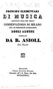 Principj elementari di musica adottati dall'Imp regio conservatiorio de Milano per le ripetizioni giornaliere degli alunni
