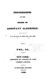 Journal and Documents of the Board of Assistants, of the City of New York: Volume 13