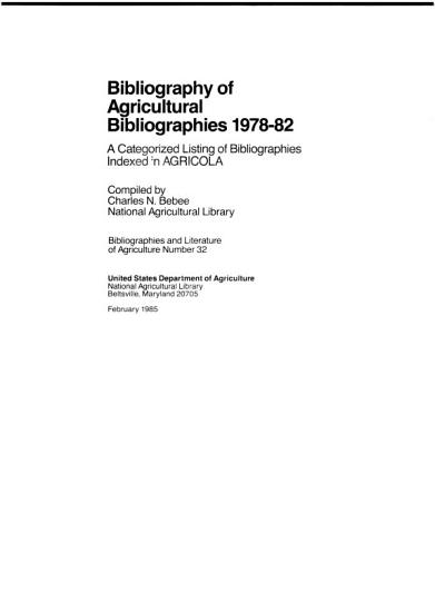 Bibliography of Agricultural Bibliographies PDF