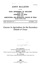 Courses in Agriculture for the Secondary Schools of Texas