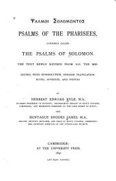 Psalmoi Solomontos: The Text Newly Revised from All the Mss