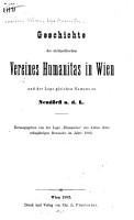 Geschichte des nichtpolitischen Vereines Humanitas in Wien und der Loge gleichen Namens zu Neud  rfl a  d  L  PDF