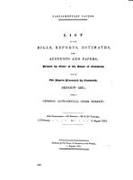 List of the Bills  Reports  Estimates  and Accounts and Papers  Printed by Order of the House of Commons  and of the Papers Presented by Command  Session 1861 PDF