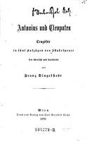 Antonius und Cleopatra  Trag  die in 5 Aufz      frei   bers  und bearb  von Franz Freiherrn von  Dingelstedt PDF