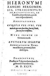 Ad consilia diuersorum ... annotationes ...