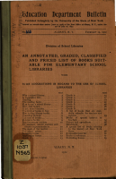 An Annotated  Graded  Classified and Priced List of Books Suitable for Elementary School Libraries  with Some Suggestions in Regard to the Use of School Libraries    PDF